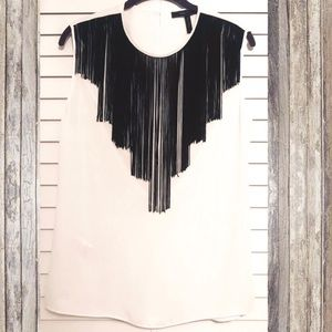 BCBG fringe top with cow neck back! Worn once